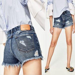 Zara TRF High Waisted Raw Hem Denim Jean Shorts
